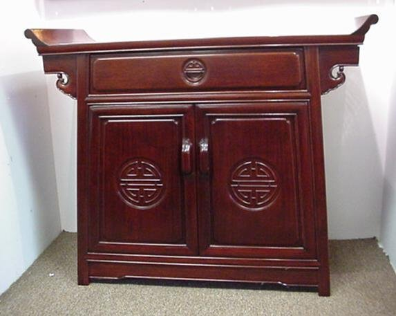 816: Lacquered Rosewood Alter Style Oriental Buffet: