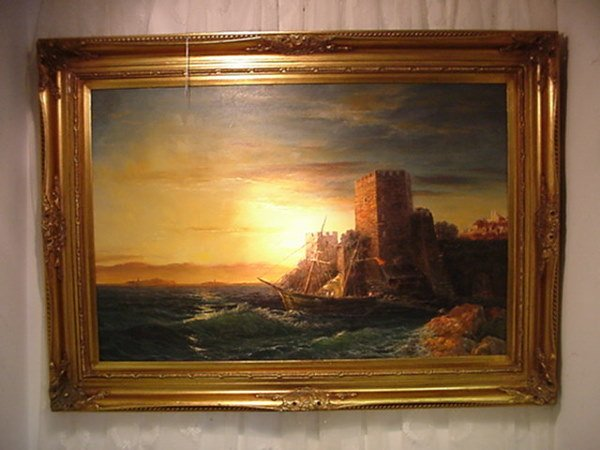 821: Seascape Oil on Canvas in Carved Gold Frame: