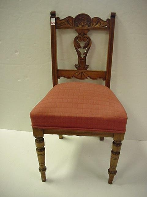 822: Cherry Side Chair with Carved Crest and Splat: