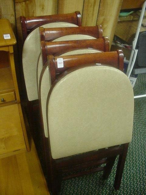 Set of 4 Mahogany Stakmore Folding Chairs