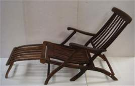 """Vintage Cruise Ship """"First Class"""" Wooden Deck Chair:"""