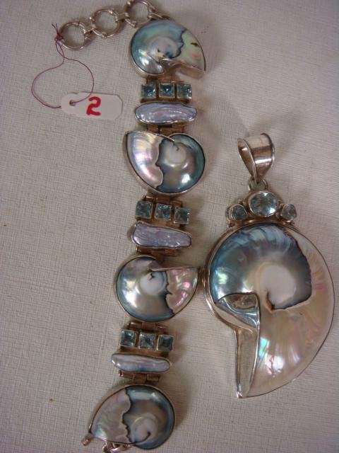 Sterling Nautilus Shell Bracelet and Pendant:
