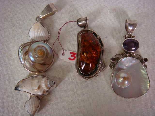 Three Custom Handmade Silver/Stone Slide Pendants: