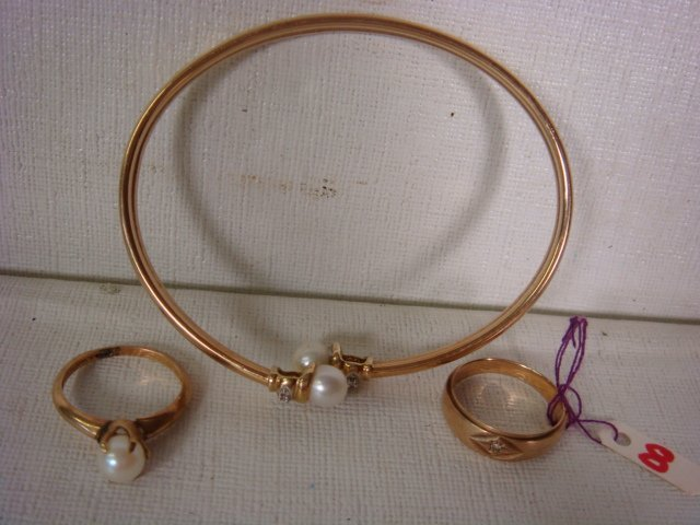10KT Gold Ring with Cultured Pearl Ring and Bracelet: