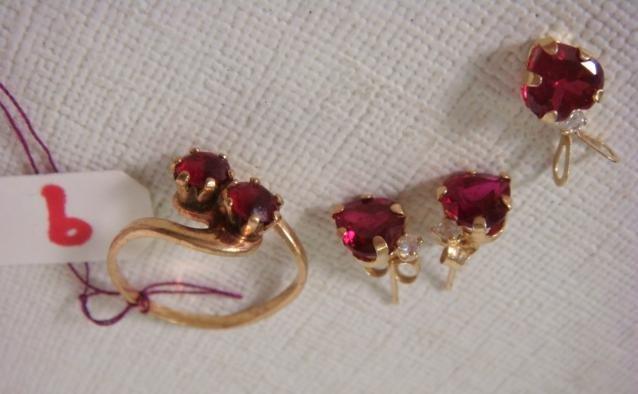 Red Garnet Ring, Earrings and Pendant: