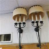 Pair of Mid Century Wrought Iron Electric Wall Sconces