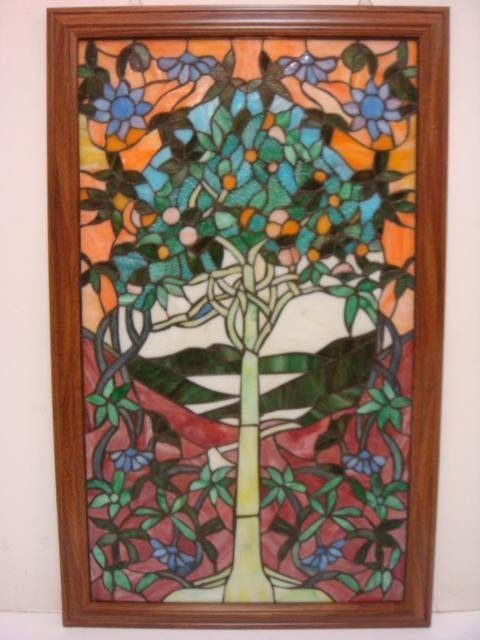 Stained Glass Orange Tree Of Life Window Panel: