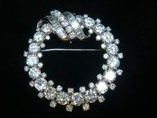 22KT White Gold Diamond Brooch with 82 Diamonds