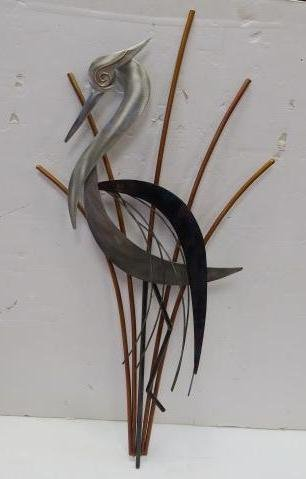 Blue Heron Copper & Steel Wall Sculpture: