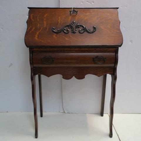 Early 20thC. Oak Slant Front Desk w/Applied Carving: