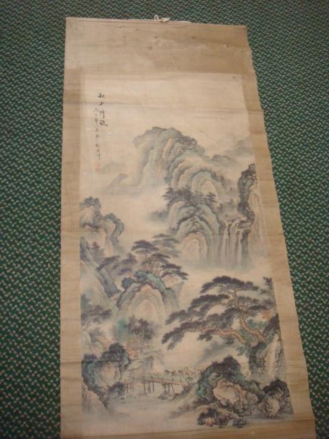 Japanese KAKEMONO Ink wash Landscape Scroll: