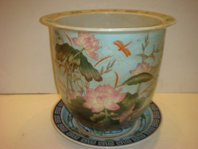 Large Koi Bowl Style Planter with Underplate: