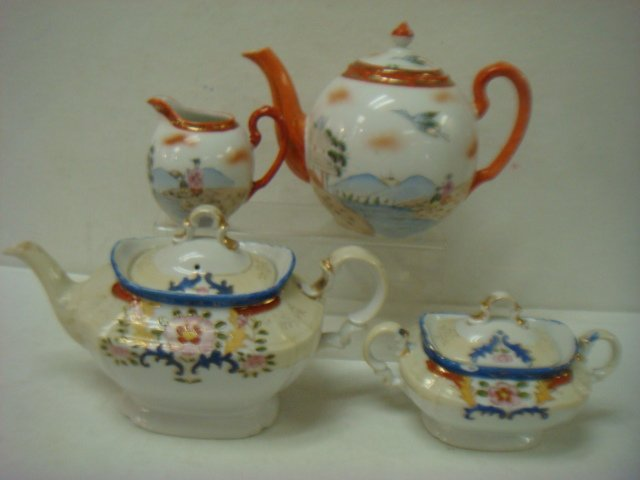Two Japanese Teapots, Sugar and Creamer: