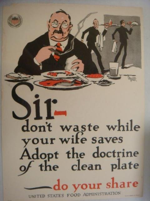 "Original World War I Poster, ""SIR- DON'T WASTE"":"