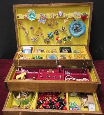 Wooden Jewel Box Of Ladies Costume Jewelry: