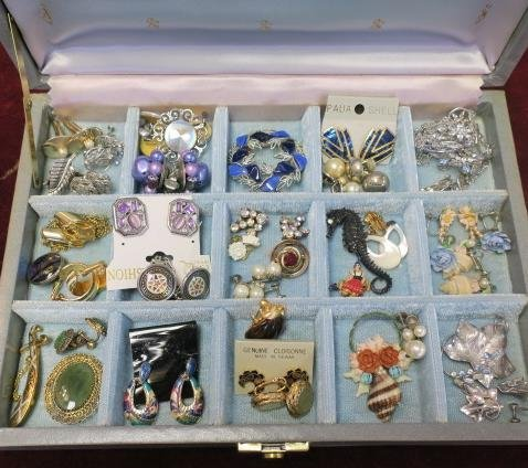 Sectioned Box of Ladies Costume Jewelry: