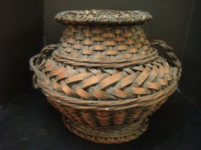 Japanese Woven Bamboo Ikebana Basket: