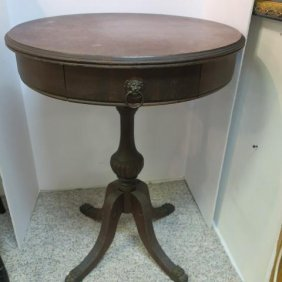 Mahogany Chippendale Pedestal Drum Table: