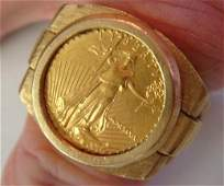 1990 $5 Walking Liberty Gold Coin in Custom  Mans Ring: