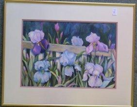 "Elsie A Fern, ""iris Cluster"" Watercolor:"