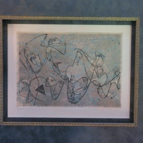 """Max Ernst Signed """"composition Ii"""" Aquatint Etching:"""