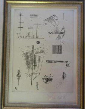 Kandinsky Pencil Signed Etching Of Geometric Planes: