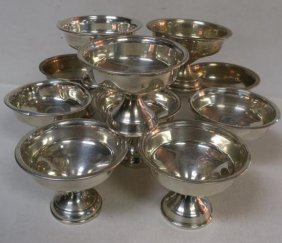 Eleven National Silver Co Sterling Silver Sherbets: