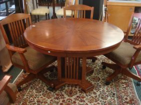 Oak Mission Style Table With Leaf & 4 Swivel Chairs: