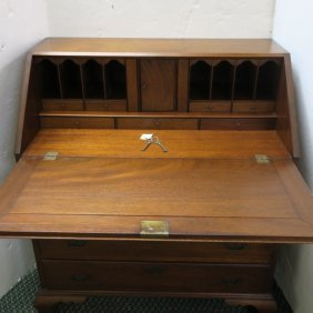 Four Drawer Mahogany Slant Front Desk: