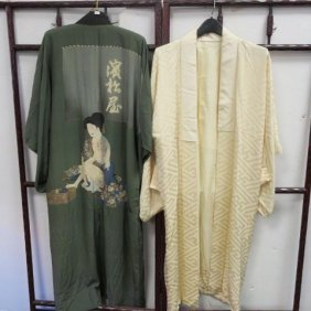 Two Raw Silk Japanese Full Length Kimonos: