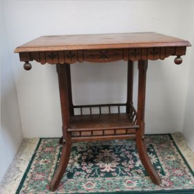 Two Tiered Oak Eastlake Parlor Table: