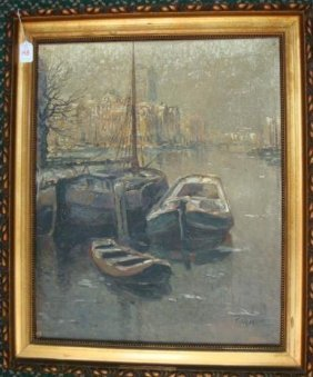 Oil On Canvas Of Moored Boats, Signed T. Heineman: