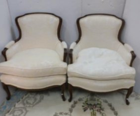 Pair Of Walnut Framed French Bergere Chairs: