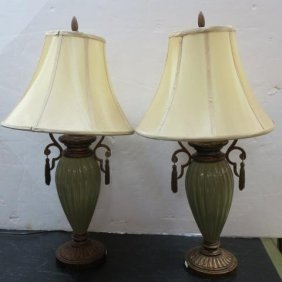 Pair Of Avocado Color Ribbed Vase Form Table Lamps: