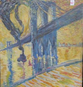 Artist Signed Oil On Canvas Of Brooklyn Bridge, Ny: