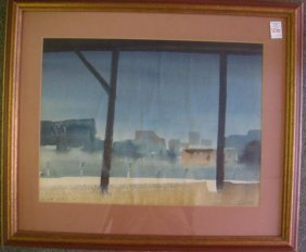 C. Sibley Signed Watercolor Of Norfolk Waterfront: