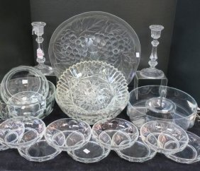 Pressed Clear Glass Bowls, Candlesticks, Cake Plate: