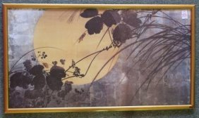 "Shibata Zeshin ""autumn Grasses In Moonlight"" Print:"