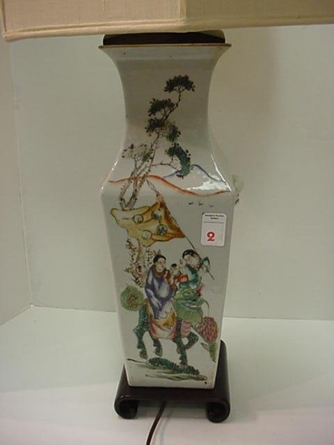 2, Hand Painted Oriental Porcelain Vase Based Lamp: Urn