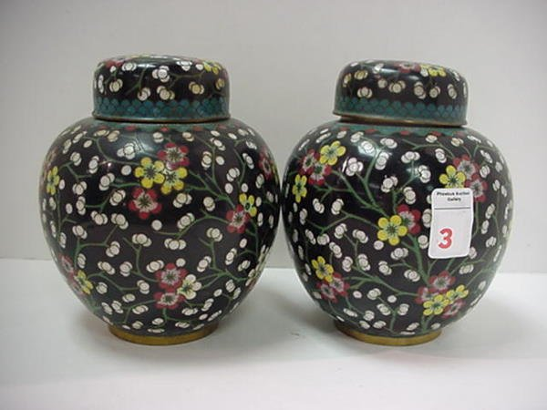 3, Pair of Cloisonné Chinese Covered Jars: Black Ground