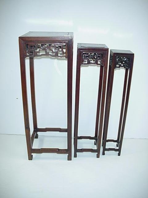 4, Set of 3 Nested Carved Oriental Pedestals: Rosewood
