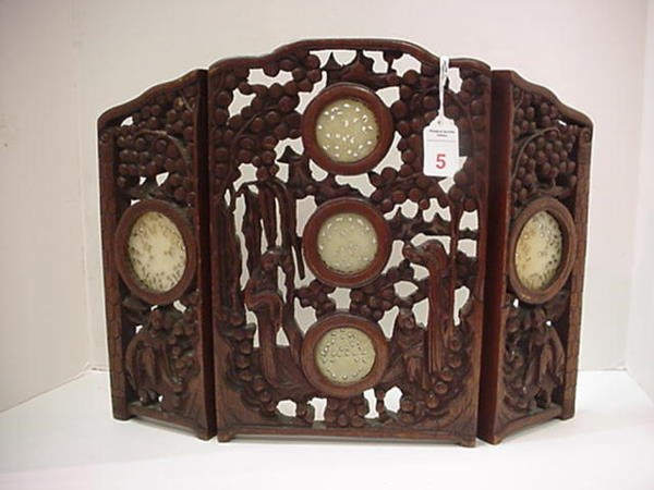 "5, Carved 3 Panel Rosewood and Jade Table Screen: 18"" W"