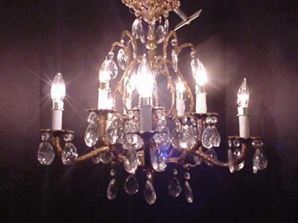 6, 5 Arm Brass and Crystal Chandelier: Curved Arm Branc