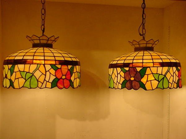8, Pair of Floral Leaded Stained Glass Hanging Shades: