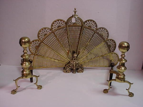 9, Brass Figural Folding Fireplace Screen: