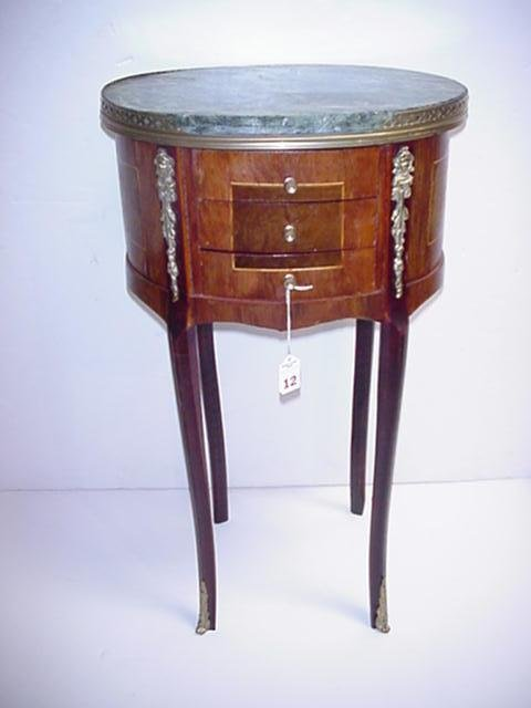 12, French Style Marble Top Inlaid 3 Drawer Side Table: