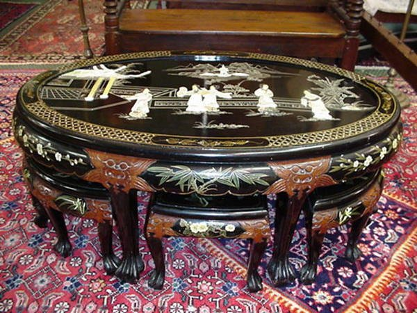 13, Black Lacquer Oriental 7 Piece Sake Table and Stool