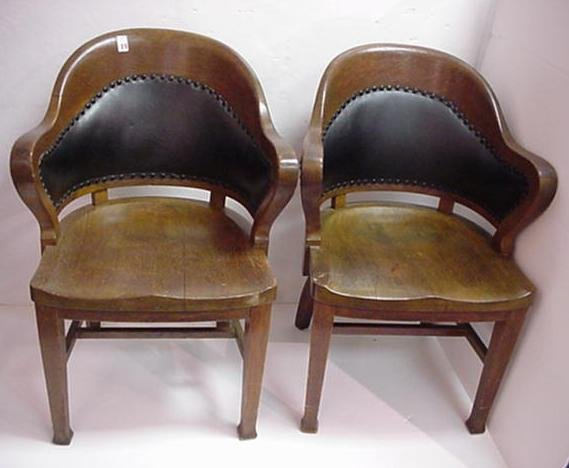 19, Pair of Solid Oak Barrel Back Chairs: Early 20th C.