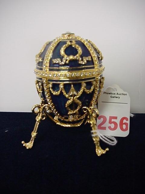 256, Faberge Imperial Cobalt Rosebud Egg: Nicholas II P