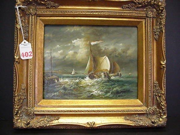 402: Oil on Board Full Sailed Ships in Gilt Frame: